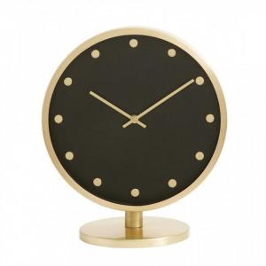 Ceas de masa auriu/negru din inox si alama 25x28 cm Carat Nordal