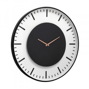 Ceas de perete negru/alb din metal si sticla 75 cm Clara Nordal