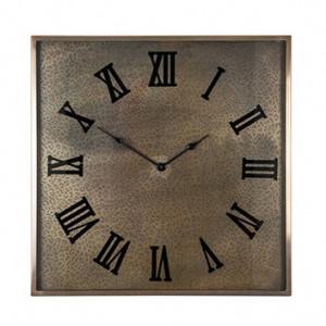 Ceas de perete patrat auriu din inox si sticla 60x60 cm Bradlee Richmond Interiors