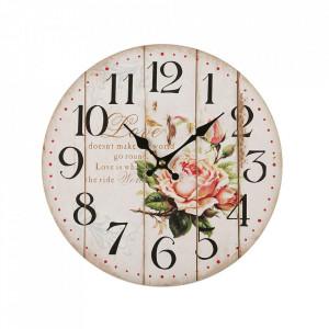 Ceas de perete rotund multicolor din metal 28 cm Love World Versa Home