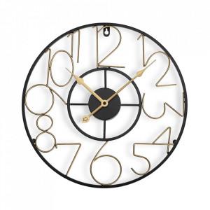 Ceas de perete rotund negru/auriu din metal 40 cm Selma Versa Home