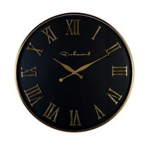 Ceas de perete rotund negru/auriu din otel si sticla 76 cm Deonne Richmond Interiors