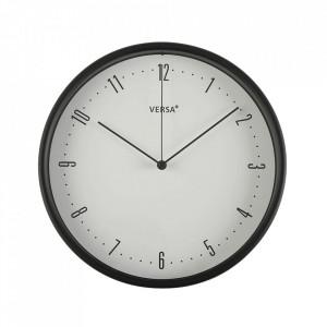 Ceas de perete rotund negru din plastic 25 cm Jazy Versa Home