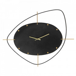 Ceas negru rotund din fier 46x58 cm Clock Be Pure Home