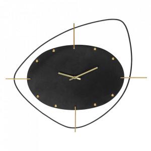 Ceas negru rotund din fier 46x58 cm Clock Be Pure Home