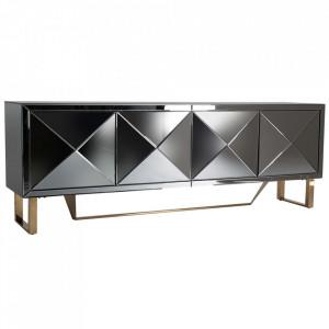 Comoda TV argintie/aurie din sticla si otel 200 cm Ayana Vical Home