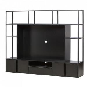 Comoda TV cu etajera neagra din metal si MDF 200 cm Toby Woood
