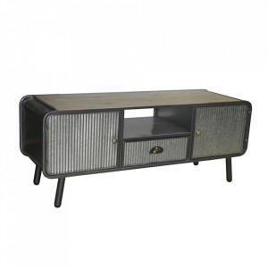 Comoda TV gri/negru din lemn de brad si fier 120 cm Indya Santiago Pons
