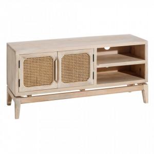 Comoda TV maro din lemn de mango si bambus 130 cm Imart Ixia