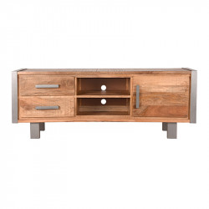 Comoda TV maro/gri din lemn si metal 160 cm Factory LABEL51