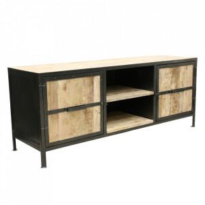 Comoda TV maro/neagra din lemn de mango 150 cm Vintage Raw Materials