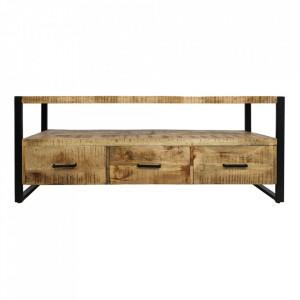 Comoda TV maro/neagra din lemn si fier 150 cm Havana Three Dery HSM Collection