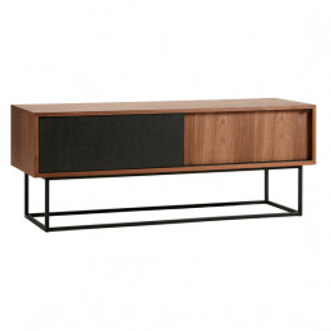 Comoda TV maro/neagra din lemn si metal 120 cm Virka Woud