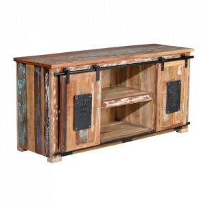 Comoda TV multicolora din lemn reciclat 130 cm Madras Giner y Colomer