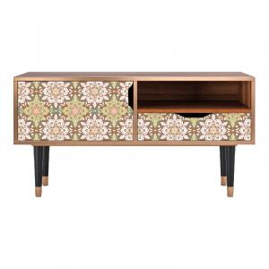 Comoda TV multicolora din MDF si lemn 114,2 cm Chinese Tea Sara Furny