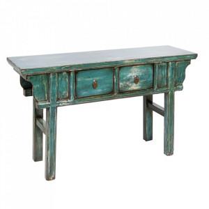 Consola albastra din placaj si lemn de ulm 115 cm Garna Santiago Pons
