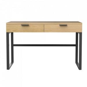 Consola maro/neagra din lemn si metal 120 cm Bahia Zago