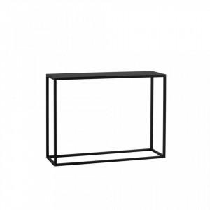 Consola neagra din lemn si metal 100 cm Julita Metal Custom Form