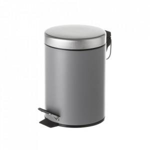 Cos de gunoi gri/argintiu din metal 3 L Burna Unimasa