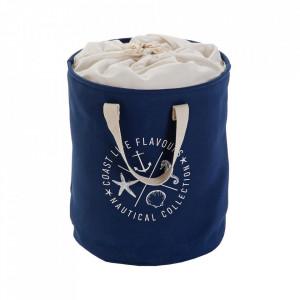 Cos de rufe albastru/crem din textil 33x50 cm Nautical Versa Home