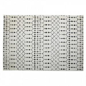 Covor alb/negru din polipropilena si iuta 170x240 cm Sansa Woood