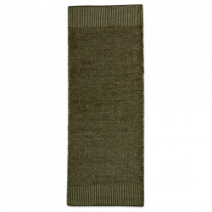Covor alb/verde muschi din lana si iuta 75x200 cm Rombo Woud