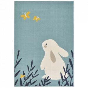 Covor albastru deschis din polipropilena 120x170 cm Vini Bunny Lottie Zala Living