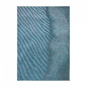 Covor albastru din bumbac si poliester Waves Blue Nile Louis de Poortere (diverse dimensiuni)