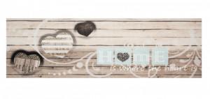 Covor crem/gri bucatarie din poliamide 45x140 cm Heart Zala Living