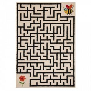 Covor crem/negru pentru copii 170x120 cm Labyrinth Zala Living