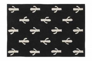 Covor dreptunghiular negru din bumbac 140x200 cm Cactus Stamp Lorena Canals