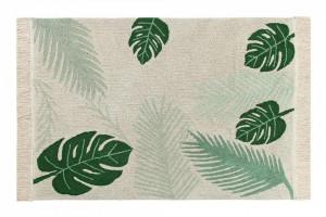 Covor dreptunghiular verde/crem din bumbac 140x200 cm Tropical Green Lorena Canals