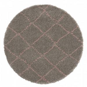 Covor gri/roz din polipropilena Allure Hash Grey Rose Round Mint Rugs (diverse dimensiuni)