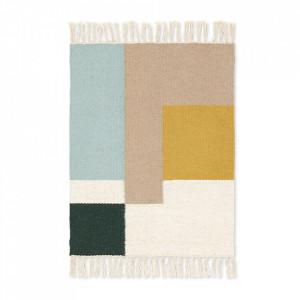 Covor multicolor din lana si bumbac 50x70 cm Kelim Squares Ferm Living