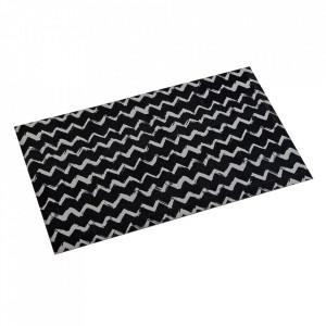 Covor pentru bucatarie alb/negru din poliester 50x80 Lauren Versa Home
