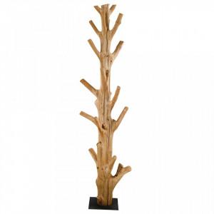 Cuier maro din lemn de tec Dark Zago