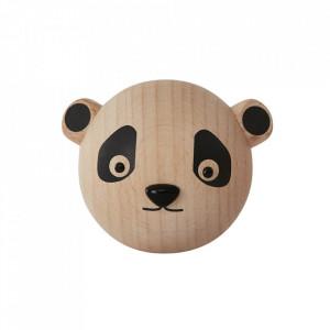 Cuier maro din lemn Mini Panda Oyoy
