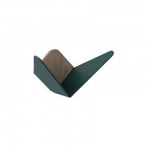 Cuier verde din lemn de stejar si otel Butterflies Mini Forest Green Umage