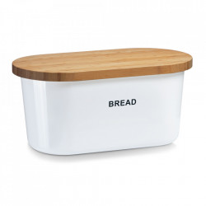 Cutie alba/maro din melamina si lemn cu capac pentru paine Thiago Zeller