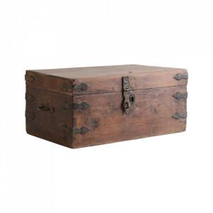 Cutie cu capac maro din lemn de tec Iorham Raw Materials