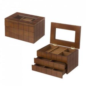 Cutie cu capac pentru bijuterii maro din MDF Willy Unimasa