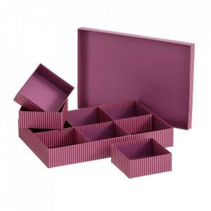 Cutie cu capac si 6 compartimente rosie din carton Lines Unimasa