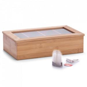 Cutie maro/transparenta din lemn si plastic acrilic pentru ceaiuri Tea Lover Zeller