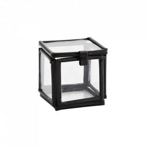 Cutie neagra din fier si sticla Quadratic Madam Stoltz