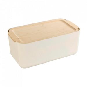 Cutie pentru paine crem/maro din fibre de bambus si lemn 20x34 cm Derry Wenko