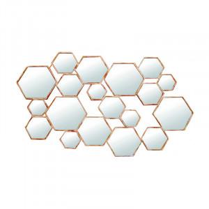 Decoratiune cu oglinda din metal pentru perete 82x130 cm Divided Hexagon LifeStyle Home Collection