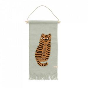 Decoratiune de perete multicolora din lana si bumbac 32x70 cm Tiger Oyoy