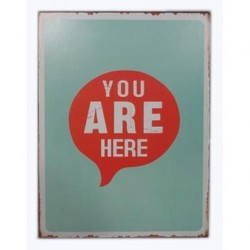 Decoratiune de perete multicolora din metal  26x35 cm You Are Here