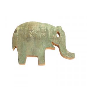 Decoratiune de perete verde din lemn reciclat 20x27 cm Elephant Raw Materials