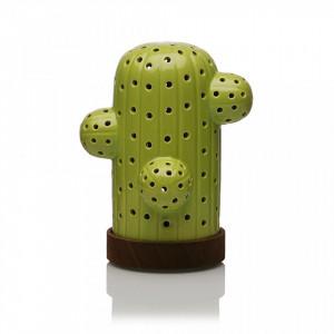 Decoratiune luminoasa LED verde/maro din ceramica si lemn Cactus Light Versa Home